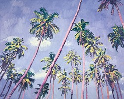 Palm Crossed Skies by Leila Barton - Original Painting on Box Canvas sized 39x32 inches. Available from Whitewall Galleries