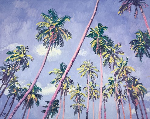 Palm Crossed Skies by Leila Barton - Original Painting on Box Canvas